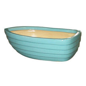 Picture of Clay Boat Planter- Turquoise 13-in