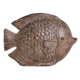Picture of Round Wooden Fish Figurine- 8-in.