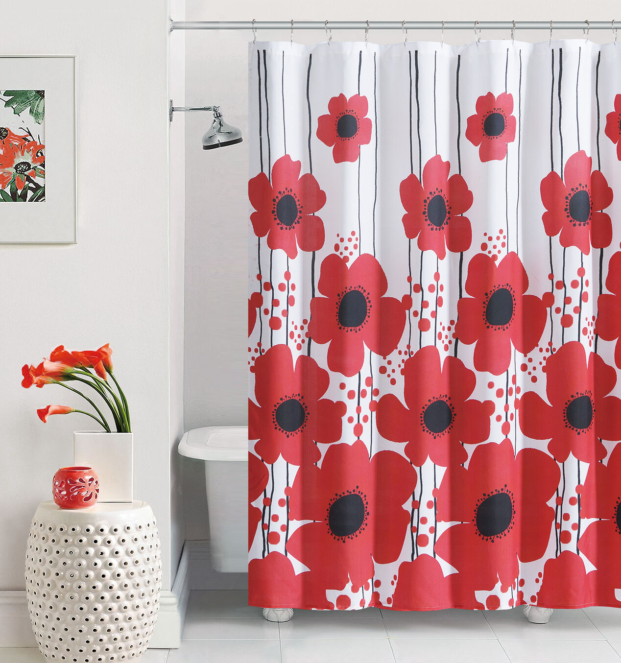 Red shower curtain - Red Poppy Shower Curtain
