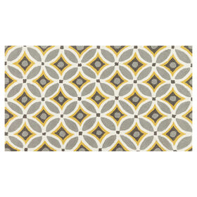 A28 Grey and Gold Geometric Rug- 3x5 ft