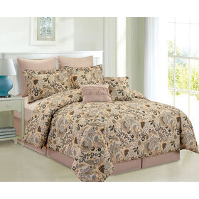 Picture of Taupe and Navy Cambridge Comforter Set Queen- 8 Piece