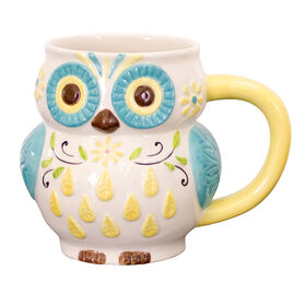 Picture of Owl and Floral Yellow Mug