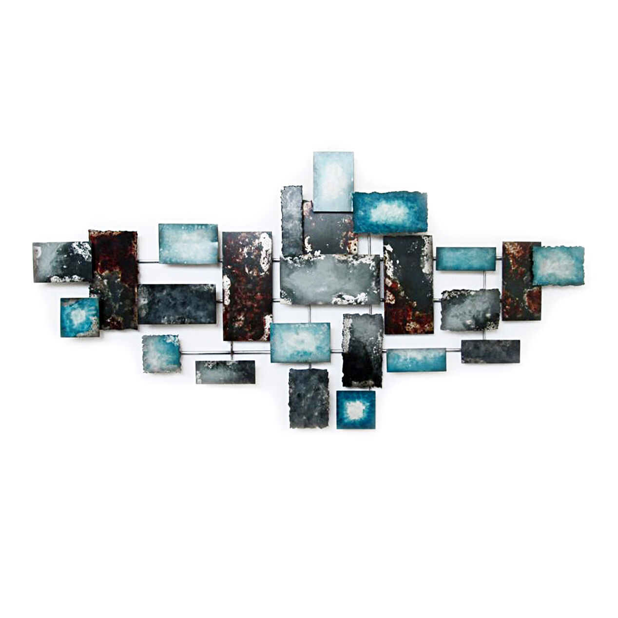 56 x 28 x 2 in turquoise gray blue wall dcor - Blue Wall Decor