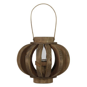 Wood Hurricane Lantern, 9-in.