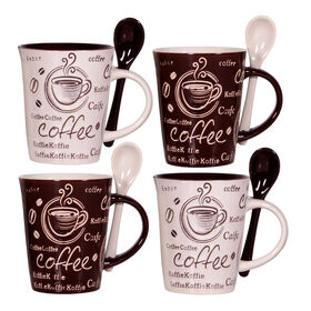 Picture of Brown and Cream Coffee Cup with Spoon, set of four