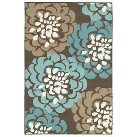 Picture of D190 Grey and Blue Floral Rug