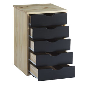 Picture of Pine 5 Drawer File Cabinet with Wheels