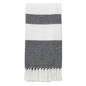 Picture of White and Black Native Stripe Throw 50 X 60-in