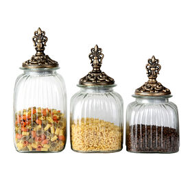 Picture of Glass Food Canister with Finial Lid - Set of 3