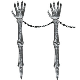 Picture of Silver Skeleton Hand Lawn Stakes - Set of 2