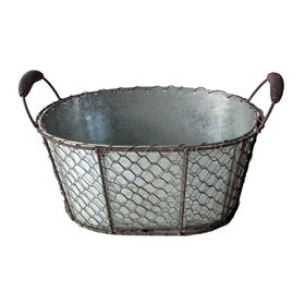 Picture of Flat Chicken Wire Oval Basket with Handles