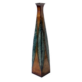 Picture of Blue & Brown Triangular Patchwork Vase - 35-in