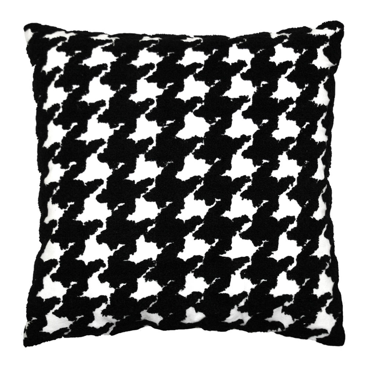 Houndstooth Pillow Black White 18 In