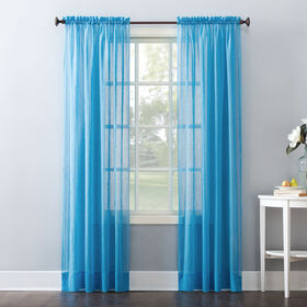 Picture of Erica Voile Curtain Panel- Turquoise 84-in