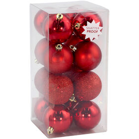 Bright Red Glitter Ornaments - Set of 16
