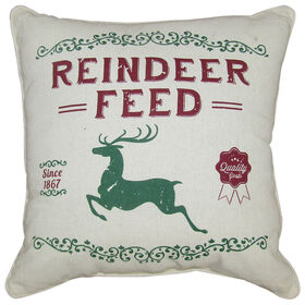Reindeer Feed Christmas Pillow