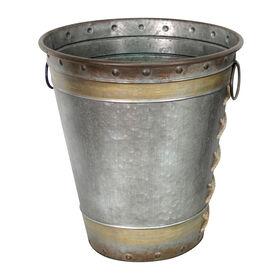 Galvanized Metal Bucket Vase - 15.7-inch