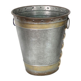 Galvanized Metal Bucket Vase - 15.7-inch