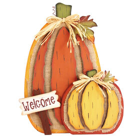 Burlap Welcome Pumpkin - 17-inch