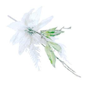 17in Ice, Cedar and Poinsettia Pick