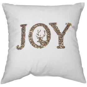 Gold Joy Pillow with Reindeer