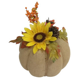 Burlap Pumpkin Yellow Sunflower - 6-inch