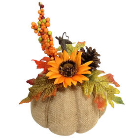 Burlap Pumpkin Orange Sunflower - 6-inch
