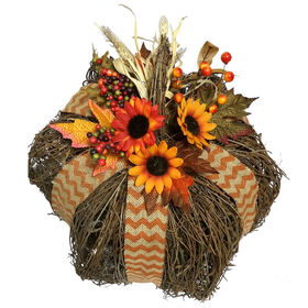 Grapevine Pumpkin with Burlap