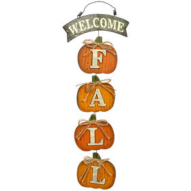 Welcome Fall Hanging Pumpkins - 19.5-inch
