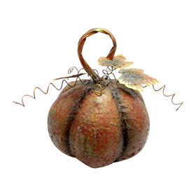 13.5-inch Metal Pumpkin Rustic Orange