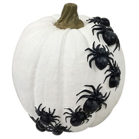 24-inch White Pumpkin With Black Spiders