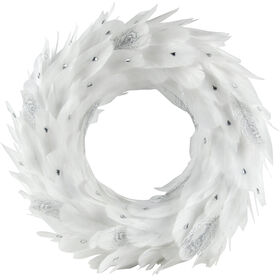 15in White Feather Wreath