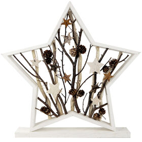 19.29in Wood Pinecone Star