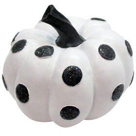 Miniature White Pumpkin with Black Dots