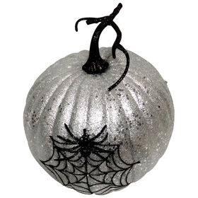 Silver Glitter Pumpkin with Spider 10-inch