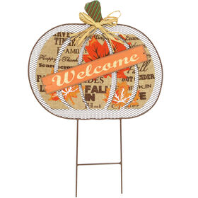 Mesh Pumpkin Welcome - 26.5-inch