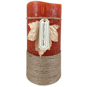 Rust Rope Pillar LED Candle - 3-inch x 6-inch
