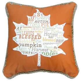 Harvest Jute Trim Leaf Pillow