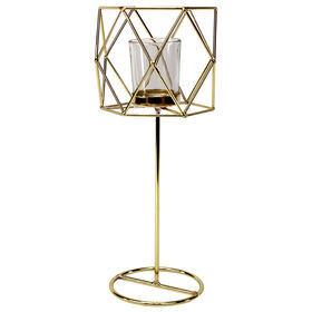 Gold Metal/Glass Candle Holder - Large