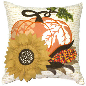 Harvest Pumpkin and Corn Pillow 14-inch