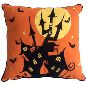 Haunted House Pillow with Bats 18-inch