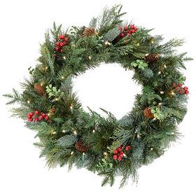 24in Pre-Lit Pine Wreath