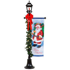 6 Ft. Lamp Post with Santa Banner
