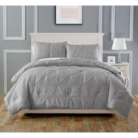 Pintuck Comforter Set - Silver
