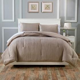 Crinkle Comforter Set - Taupe