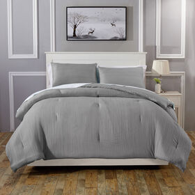 Crinkle Comforter Set - Grey