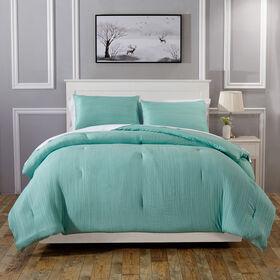 Crinkle Comforter Set - Light Blue